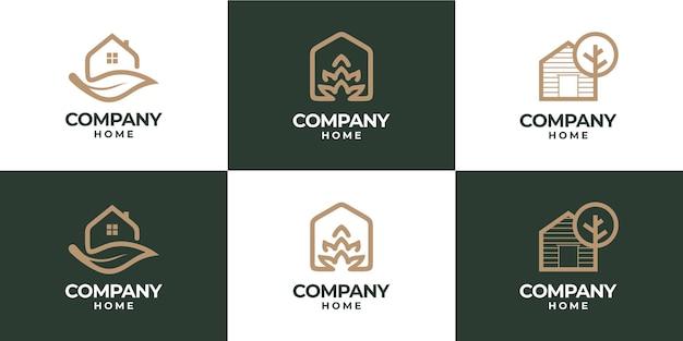 집과 잎 자연 조합 로고의 컬렉션
