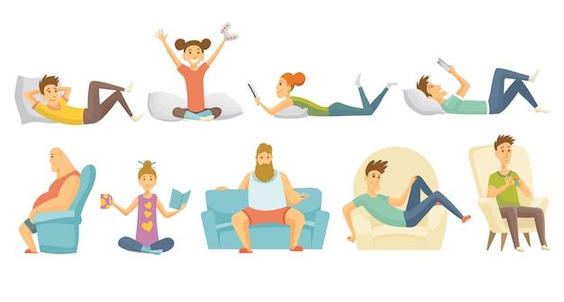 ホームレジャーのコレクション。男の子と女の子は異なる状況で家で休んだ。若い人たちの余暇。家にいる。一人で余暇を楽しんだ。