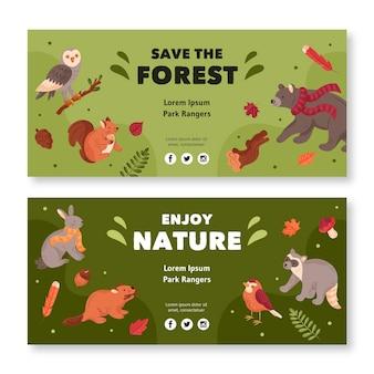 Коллекция горизонтального баннера с лесными животными