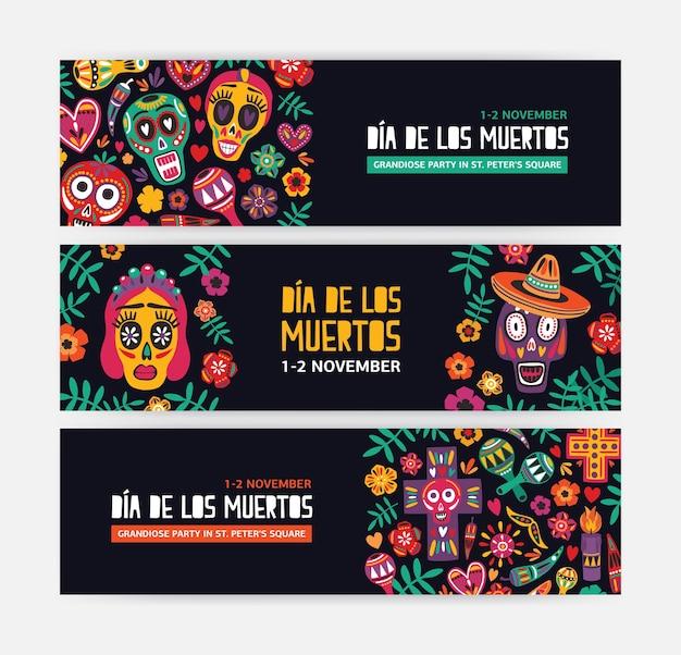Коллекция горизонтальных шаблонов веб-баннеров, украшенных мексиканскими калаверами или черепами