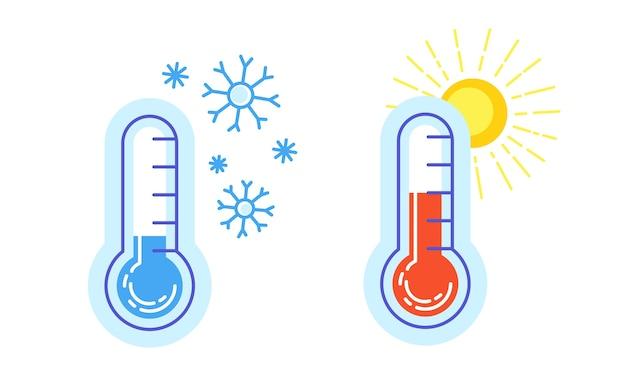 따뜻한 것과 차가운 아이콘 온도계의 컬렉션