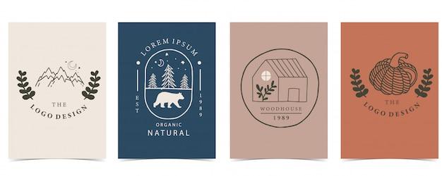 집, 동물 및 호박 그림의 컬렉션 프리미엄 벡터