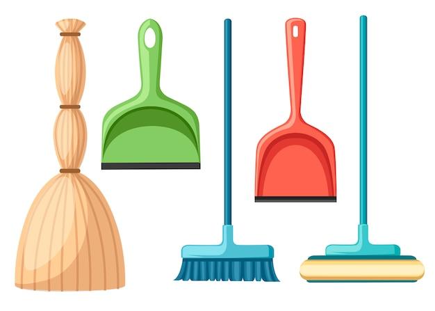 家庭用の掃除用具のコレクション。ほうき、モップ、スクープ。白い背景の上の図