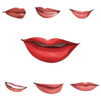 人間の口のベクトルのコレクション