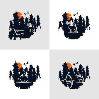 사냥 오리, 곰 및 사슴 사냥 로고 디자인 컬렉션