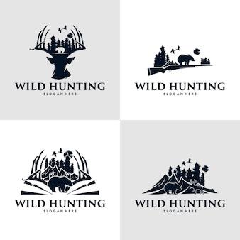 사냥 오리, 곰 및 사슴 사냥 로고 디자인 컬렉션 프리미엄 벡터