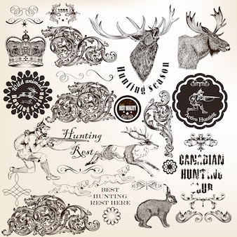 Collection of hunting illustrations and ornaments