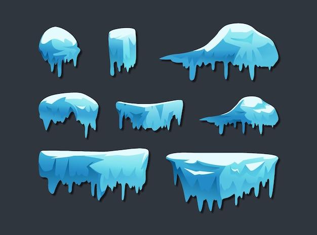 회색에 고립 된 얼음 모자 컬렉션