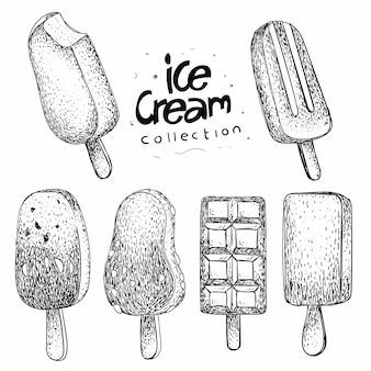Коллекция мороженого в рисованной