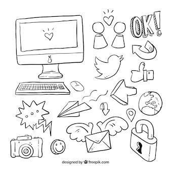 Collection of icons and social media sketches