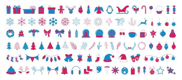 크리스마스와 새해의 아이콘 모음