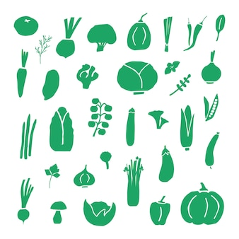 플랫 스타일의 다양한 야채 아이콘 모음입니다. 야채의 실루엣의 집합입니다. 야채 영양 낙서, 유기농 채식주의 음식. 벡터 일러스트 레이 션