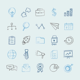 Collection of illustrated business icons