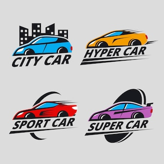 Коллекция иллюстрированных автомобильных логотипов