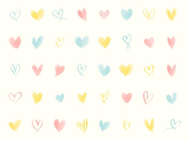 그림 된 심장 아이콘의 컬렉션
