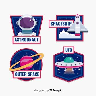 Коллекция иллюстрированных космических стикеров