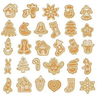 Коллекция иллюстраций графических иконок традиционных рождественских пряников Premium векторы