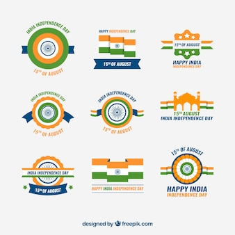 Collection of indian independence day badges