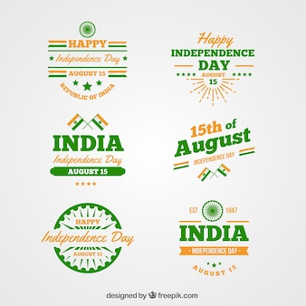 Collection of indian independence day labels