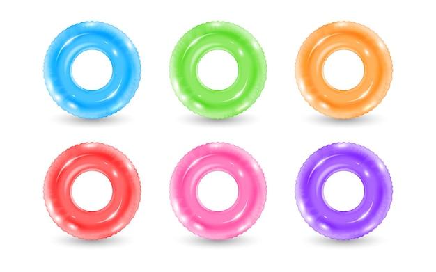 Коллекция надувных резиновых колец иллюстрации
