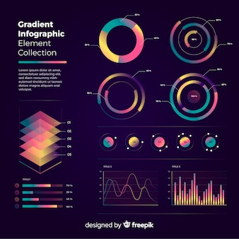 Collection of infographic elements in flat design
