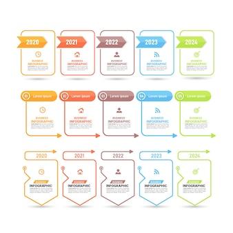 フラットデザインのインフォグラフィックステップのコレクション