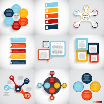 ビジネスベクトルイラストのインフォグラフィックテンプレートのコレクション。 eps10