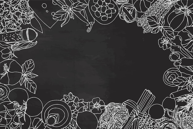 空のスペースで黒板に食材のコレクション