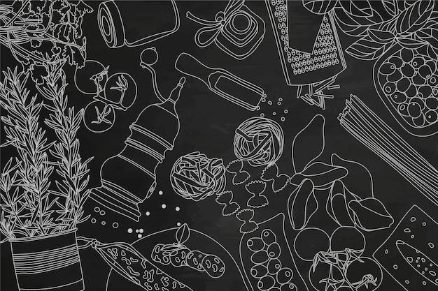 黒板に食材のコレクション