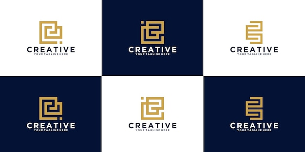 패션 및 컨설팅 비즈니스를 위한 초기 문자 e 로고 모음