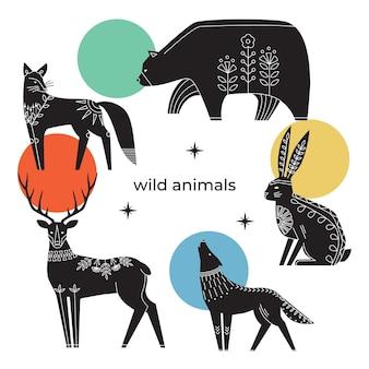 스칸디나비아 꽃 장식으로 잉크 동물의 컬렉션
