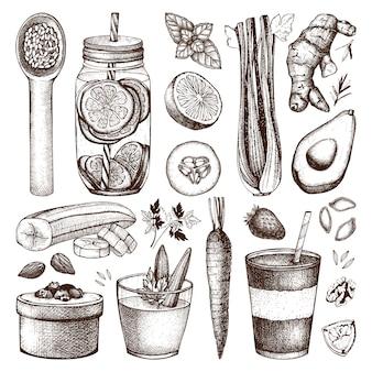 잉크 손으로 그린 건강 식품 및 음료 스케치의 컬렉션입니다. 빈티지 여름 다이어트 그림입니다. 해독 프로그램 요소 컬렉션