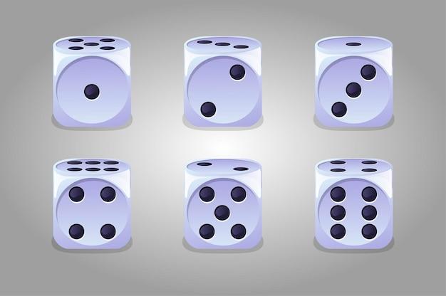 孤立したゲームの白いサイコロのコレクション。ギャンブル用のゲームキューブのセット。