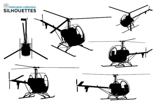 さまざまなビューで孤立したヘリコプターのシルエットのコレクション