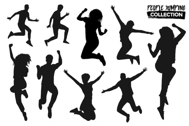 Коллекция изолированных прыгающих силуэтов людей. графические ресурсы.