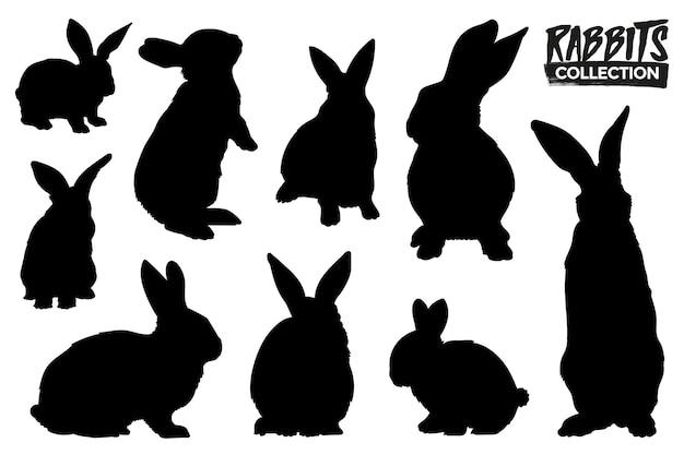 Коллекция силуэтов изолированных кроликов. графические ресурсы.