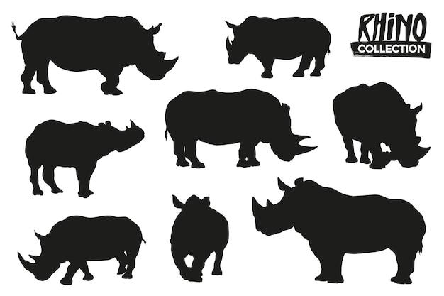 격리 된 코뿔소 실루엣의 컬렉션입니다. 그래픽 리소스.