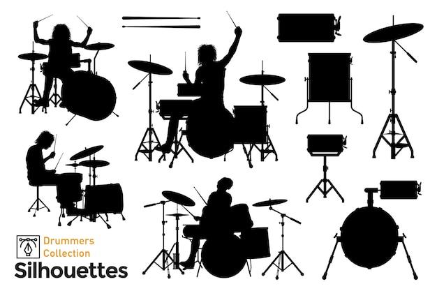 Коллекция изолированных силуэтов барабанщиков. играют музыканты.