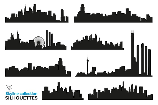 都市、建物、高層ビルのスカイラインの孤立したシルエットのコレクション。グラフィックリソース。