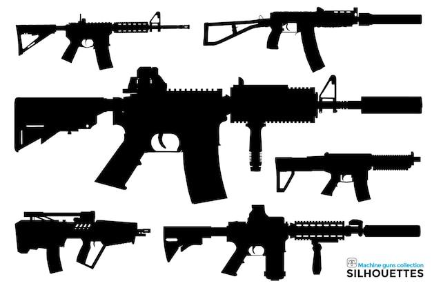 Коллекция изолированных силуэтов пистолетов-пулеметов в разных представлениях
