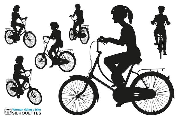 Коллекция изолированных силуэтов женщины на велосипеде в разных позах.