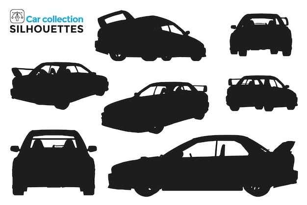 Коллекция силуэтов изолированных спортивных автомобилей в разных представлениях. высокая детализация. графические ресурсы.