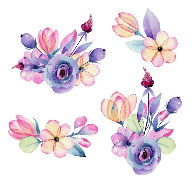격리 된 수채화 파스텔 애플 꽃 꽃 꽃다발의 컬렉션
