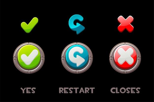 Коллекция изолированных кнопок и значков да, перезапуска и закрытия