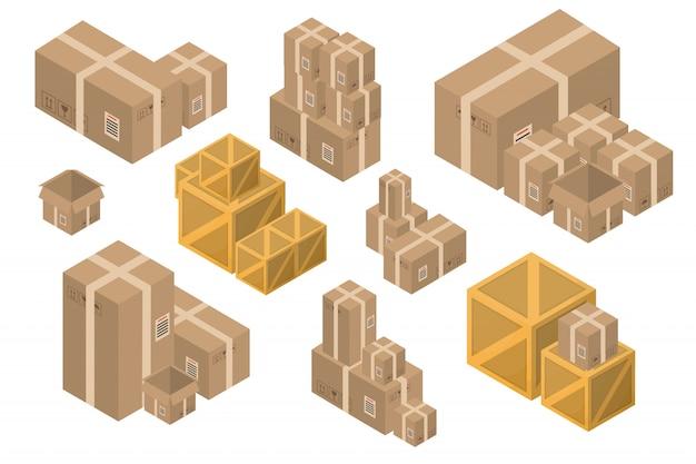흰색 바탕에 아이소 메트릭 배달 골 판지 상자의 컬렉션입니다. 배달, 운송 및 선물의 개념.