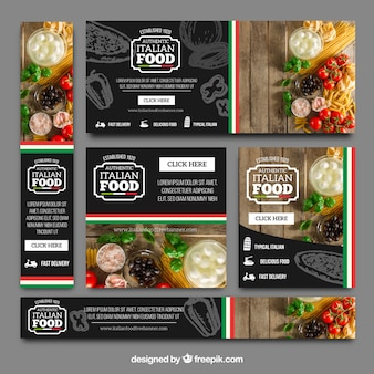 Collection of italian restaurant banners