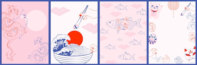 Коллекция японских иллюстраций, концепция ваби саби. минималистичные объекты
