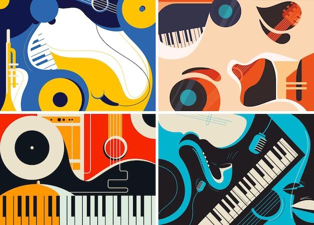 Коллекция джазовых шаблонов в плоском дизайне.