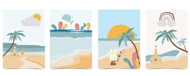 砂、海、太陽がセットされた子供のポストカードのコレクション。ウェブサイト、招待状、ポストカード、ステッカーの編集可能なベクトルイラスト
