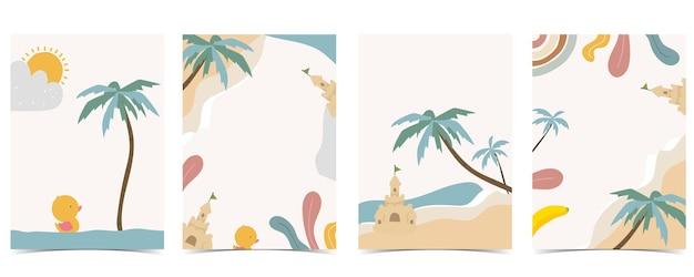 海、ビーチ、太陽がセットされた子供のポストカードのコレクション。ウェブサイト、招待状、ポストカード、ステッカーの編集可能なベクトルイラスト